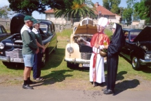 Marie & John with their Austin A40 - Loyal Albert and Ted & Anna's Vanguard - Dumpy