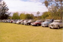 A nice line up of club cars at the Presidents Run